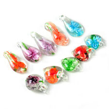10xHandmade heart Lampwork Glass Murano Bead Clear Pendant + Water Drop Necklace