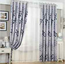 2 x Blockout Eyelet Curtains Country Style Leaves Light Grey 240cm x 230cm -Pair