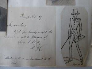 VICTORIAN SCRAP BOOK 1883-1900s SKETCHES LETTERS 1903 PARLIAMENT INVITE BOER WAR