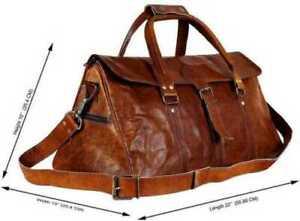 Leather Bag Genuine Travel Men Duffle Gym S Vintage Weekend Luggage Overnight #