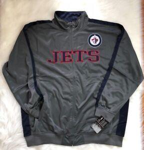 Winnipeg Jets Big & Tall Performance Track Jacket, Gray, Men Size 3XLT NHL
