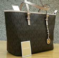 Nwt Michael Kors JetSet Brown Pvc Mk Signature Travel TOP ZIP Tote Bag