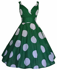 Vintage 50's Rockabilly Oversize Green Dot Full Circle Flared Dress New Size 14