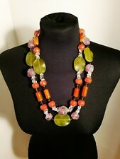 Apricot Green Agate, Amethyst And Glass Beaded Double Necklace Silver Clasp 62cm