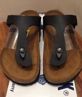 Birkenstock Gizeh 043691 size 35 L4-4.5 R Black Birko-Flor Thong Sandals