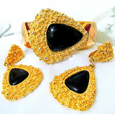 VTG COUTURE NAPIER FUJIO BRUTALIST MODERNIST DECO JET RUNWAY BRACELET EARRINGS