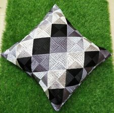 """Set of 2 Ethnic Black Cushion Covers Stitched Phulkari Embroidered 16"""" by 16"""""""