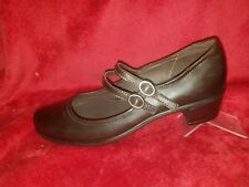 ECCO Dark Brown LEATHER DOUBLE STRAP MARY JANES HEEL  SHOES WOMENS 39/8 -8.5 (5)