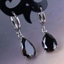 Fashion 925 Silver Black Sapphire Drop Hoop Dangle Earrings Wedding Gift Jewelry