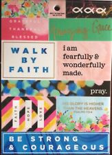 Religious Grateful Thankful Blessed Faith Verse Phrase Foiled Scrapbook Stickers