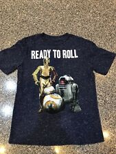 Star Wars Boys R2D2 C3PO BB8 Ready To Roll Short-Sleeve T-Shirt Size Small
