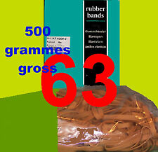 rubber bands # 63 circa 500 grams gross weight natural elastic circa 80mm by 6mm