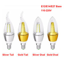 5W LED Candle Light Bulb E12/E14/E27 AC110-220V Gold Sliver 2835LED Lamp Cool