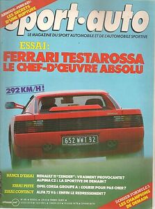 SPORT AUTO 281 1985 ESSAI FERRARI TESTAROSSA TOUR DE CORSE GP MONACO SAN MARIN