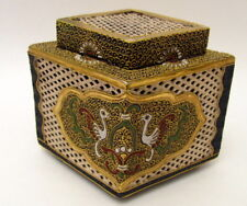 Rare Hand Painted Antique Satsuma Cricket Box Meiji Period 1868-1912