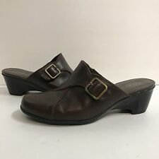 Clarks Bendables 6 W Brown Leather Buckle Slip On Womens Mules Heels Shoes 80539