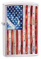 Zippo Rietveld American Flag Brushed Chrome Windproof Pocket Lighter, 49145
