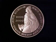 ICELAND 1000 KRONUR SILVER PROOF CROWN 2000 LEIF ERICSON U.S. MINT