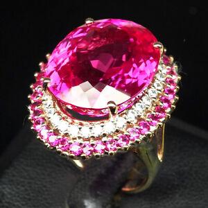 TOPAZ PINK RASPBERRY 34.20 CT. SAPP RUBY 925 STERLING SILVER ROSE GOLD RING SZ 7