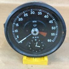 OEM Jaguar XKE E-Type Late 3.8 Tachometer RPM Clock Gauge Smiths RV7413/02 60MPH