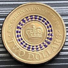 2013 AUSTRALIA $2 COIN 60 ANNIVERSARY CORONATION QUEEN ELIZABETH PURPLE aUNC *1