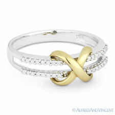 in Two-Tone 14k White Yellow Gold 0.13 ct Diamond Infinity Charm Right-Hand Ring