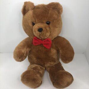 "Dakin Brown Honey Jo Vintage 1986 20"" Plush Teddy Bear Red Bow Tie Fun Farm"