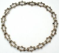 """Taxco Sterling Silver Choker Necklace 17"""" Long Vintage Handmade Mexican W"""