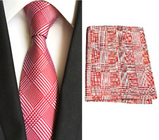 Men's Red White Striped Tie & Hanky Handkerchief Pocket Square Set