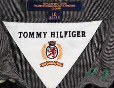 TOMMY HILFIGER CAMICIA Pinhole Nero/BIANCO TAGLIA 16/32-33 154 R