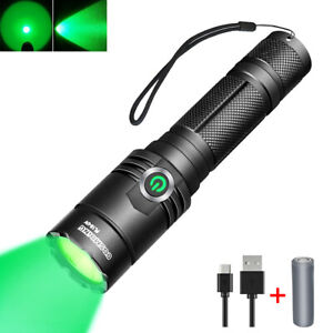 400 Yards Hunting Tactical Green Light Rechargeable LED Flashlight 18650 Torch