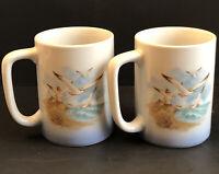 Set Of 2 Otagiri Japan Ceramic Coffee Tea Mug Seagulls & Ocean Lighthouse House