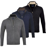 Mens Premium Chenille Full Zip Collared Cardigan Knitted Winter Top M-XXL