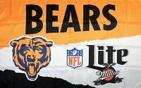 Chicago Bears NFL Miller Lite Flag 3x5 ft Sports Banner Man-Cave Garage Bar New