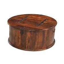 Jodhpur sheesham indian furniture round coffee table storage trunk