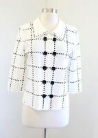 Ming Wang Cream White Black Embellished Acrylic Knit Cardigan / Jacket Size S