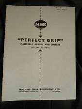 "MSE ""Perfect Grip"" Mandrels, Arbors & Chucks (Steber System) Tehnical Data  1952"