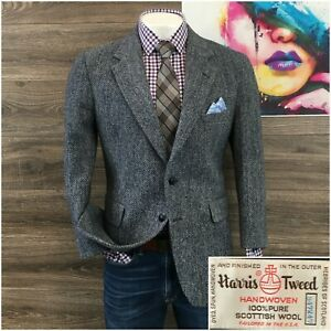 2-Button Blazer Gifts for Him 100/% Camel Hair Made in USA Strathmore Clothes Gray Herringbone Tweed Sport Jacket Mens Sport Coat