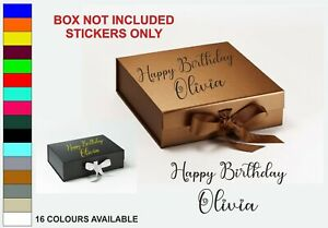 Personalised Birthday Box Stickers Gift Present Custom Decal
