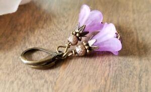 Purple Lucite Dangle Flower Earrings Bronze Filigree glass floral spring