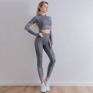 Workout Sets for Women 2 Piece Outfits Seamless Leggings Long Sleeve Gym Clothes