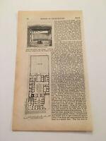 K66) Plan of House of Pansa Pompeii Italy Architecture History 1842 Engraving