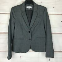 Calvin Klein Glen Plaid Long Sleeve Two-Button Womens Size 10 Gray Blazer Jacket