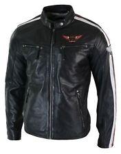 Mens Black Real Leather Racing Biker Jacket Zipped Short Red White Stripes Badge