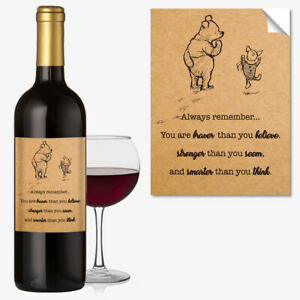 WINE BOTTLE LABEL BIRTHDAY or ANY OCCASION GIFT Funny Winnie the Pooh #1048