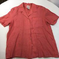 Talbots Women's 100% Irish Linen Blouse Button Short Sleeve Coral Sz 12