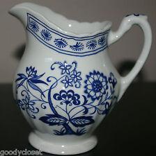 J & G MEAKIN ENGLAND CLASSIC WHITE BLUE NORDIC ONION CREAMER FINE CHINA 1950'S