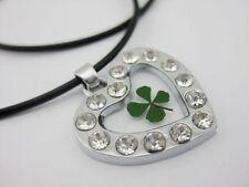 3pcs four leaf clover lucky green clover Mini heart white stone pendants