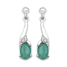 STERLING SILVER NATURAL EMERALD & DIAMOND DROP EARRINGS ANNIVERSARY GIFT