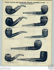1905 PAPER AD 2 Sided Gold Silver Carved Briar Meerschaum Smoking Pipes Cigar